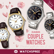 [VALENTINE SPECIAL] CASIO Couple Leather N Stainless Steel Watches. Free Shipping Warranty and Box!