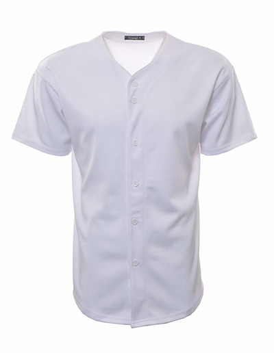 first rate ac150 bc428 YoungLA Baseball Jersey T-Shirts Plain Button Down Sports Tee