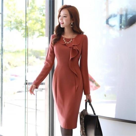 スタイルオンミ行き来するようにスタイルオンミ優雅なラッフルドロップワンピース スーツワンピース/ 韓国ファッション