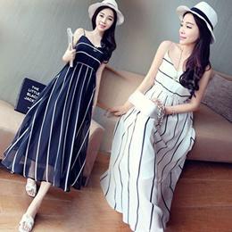 Stripe Chiffon Cami Maxi Dress