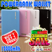 [BUY 1 + Free 1] CLEARANCE SALE!!! POWERBANK WALLET 12000mAh Dual Output + 4Connector + GARANSI 1 MINGGU