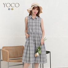 YOCO - Chek Ramie Cotton Breasted Sleeveless Dress-190838