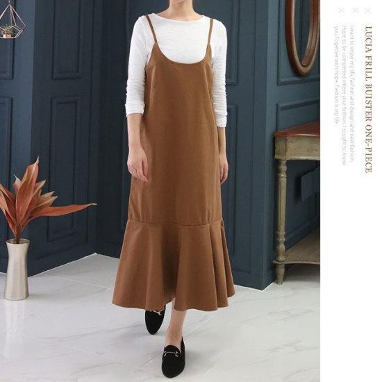 オーサムルシアフリルビュスチェワンピース231857 塔/袖なしのワンピース/ 韓国ファッション