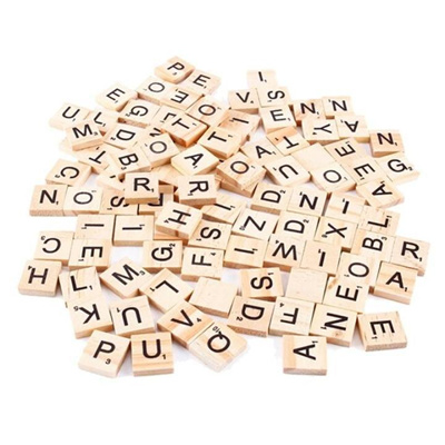 100 Wooden Scrabble Tiles Letters Crafts Alphabet Scrabbles Board Game Toy shan