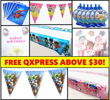 Kids Party Supplies* Birthday* Disposable Table Cloth* Banners* Garlands* Buntings* Cupcake Stand*