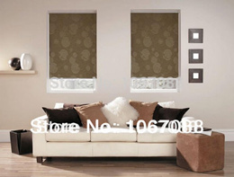 Wholesale Retail 100% Polyester Brown Jacquard  Blackout Roller Blinds Customized Window Curtains fo