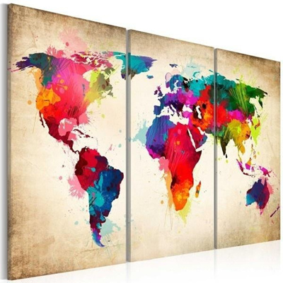 3 PCS /Set Colorful Retro Old World Map Oil Painting Home Decor Wall Art  Picture Paint on Canvas Pri