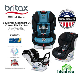 Britax Boulevard ClickTight Convertible Car Seat|newborn to 29.4kg I Cool N Dry Collection Available