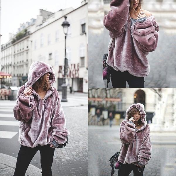 女性のPurpelは暖かいフリースのアウターを保つ冬のファッションパーカーは特大のスウェット