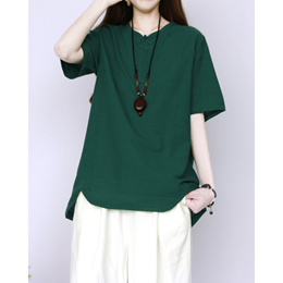 bfe8bb0d8297e5 COUPON · NEW Women short Sleeve Loose Blouse Linen Pure color Shirt Ready  Stock GRS