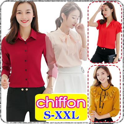 4a8dd0d24 2019 Korea Fashion Spring Summer Women Chiffon Blouse/Office Ladies Tops/Short  Long Sleeves