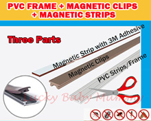 PVC Strip / Frame + Magnetic Clip + Magnetic Strip with 3M Adhesive/For DIY Magnetic Insect Screen