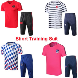 Short Sleeve Training Shirt + 7/10 Pants Soccer Training Suit PSG Juventus Chelsea Arsenal Uniform