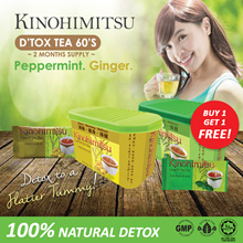1+1 Kinohimitsu Detox Tea 60s Ginger/Peppermint Flavour~~Cleanse / Healthy / Detox