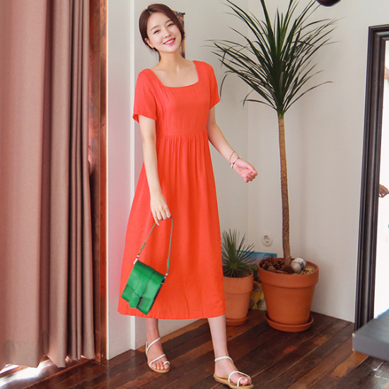 ジェイ・スタイルビックサイズクグルリスクエアネックロングワンピース 大きいサイズ/ワンピース/韓国ファッション