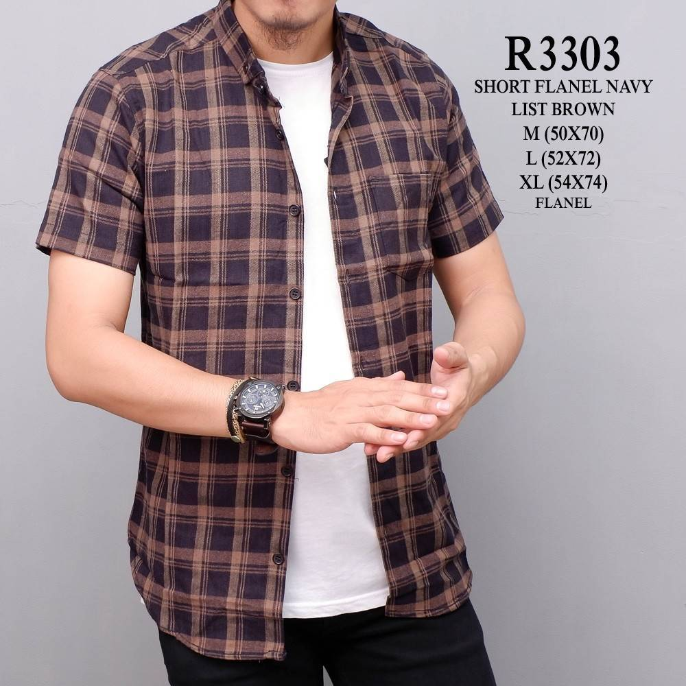 Qoo10 Wl R3303 Kemeja Flanel Short Navy List Brown Pakaian Pria Fit To Viewer