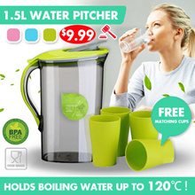 ★Nett. $9.99 ★BPA Free Hot / Cold Water Pitcher / Jug / Container 1.5L and 2.1L Lip with Safety Clip