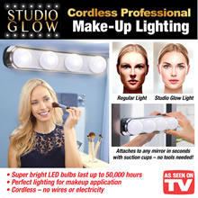 Studio Glow Make Up Light Super Bright 4 LED Bulbs Portable Cosmetic Mirror Light Kit
