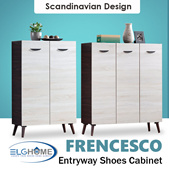 【FRENCESCO】Contemporary Entryway Shoes Cabinet/2 Doors 3 Doors Scandinavian Shoe Rack/Shoe Organizer