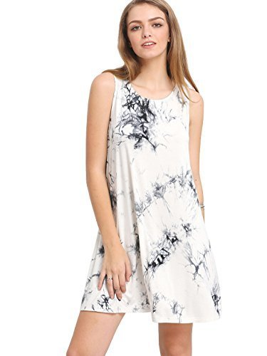 c233edeafb7d ROMWE Women s Tie Dye T-Shirt Sleeveless Casual Loose Swing Dress Tunic Top-