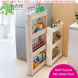 Multipurpose Slim Wheel Rack Kitchen Bathroom Storage Shelves Shelf Organizer Living Office Bedroom