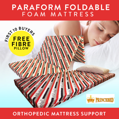 ?PRINCEBED?PARAFORM FOLDABLE FOAM MATTRESS?SINGLE?FOLDING?PORTABLE?LIGHT?BEST?FREE PILLOW?