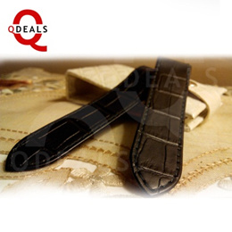Black Branded Luxury Watch Strap Watch Band For Santos 100 Large Style Croc Leather 23mm