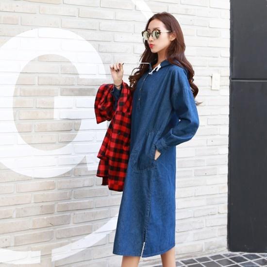 ピピンバルレニバンオプンフードのデニムワンピース34836 綿ワンピース/ 韓国ファッション