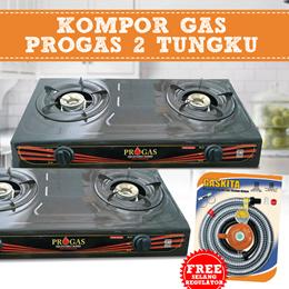 Kompor Gas Progras 2 tungku Bonus Selang Gas+Regulator Free Ongkir Jabodetabek