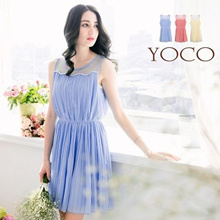 YOCO - Tulle Insert Pleated Dress-6002486