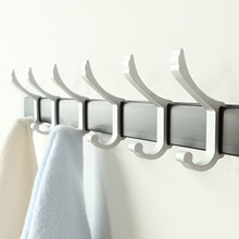 Aluminum Bathroom Adjustable Hook Clothes Hanger Rack Kitchen Door Wall Hanging Towel Rack Shelf