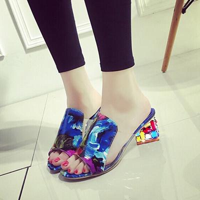 76dbee8c8bb6 outlet Fashion Rhinestone Sandals Women Slippers Fish Head Diamond Yards  Summer Sandals Thick High H