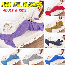 Mermaid Tail Blanket / Travel Sleeping blanket / Mermaid Tail-Shape Sleeping Bag Crochet Knitted /Me