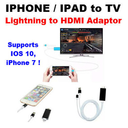 Lightning to HDMI HDTV TV Cable Adaptor for Apple iPad iPhone 7 5S 6 6S 2M Movies Video Photo