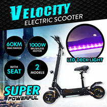 Woop+ Velocity Electric Scooter 800W / 1000W / Latest C Frame/Dual Suspension/Dual Disc Brake