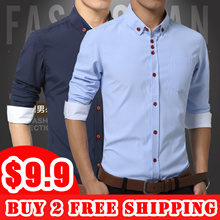 [buy 2 free shipping] Mens shirt/Autumn long sleeve shirt/ slim