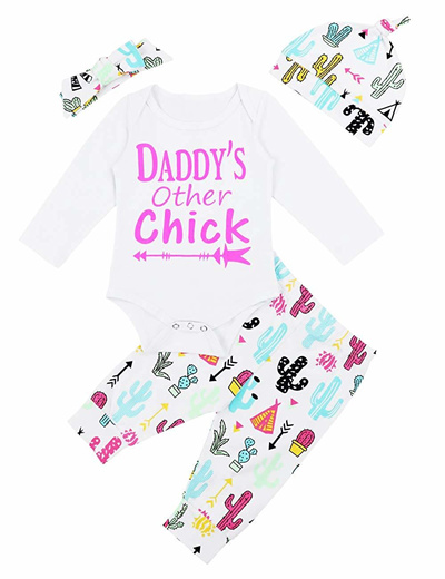 81712ae8be9f RCPATERN Baby Girl Clothes Print Long Sleeve Letters Romper + Cactus Pant +  Headband Winter Outfit