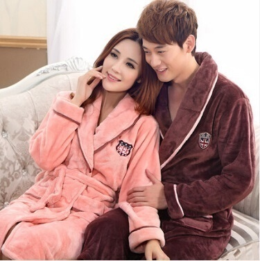 Autumn Winter Flannel Couples Robe Men Women Bathrobe Thicken Long Sleeve  Pajamas Household Night- 77f9354b0