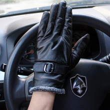 Animal skin winter gloves personality men outdoor deerskin thick warm leather gloves