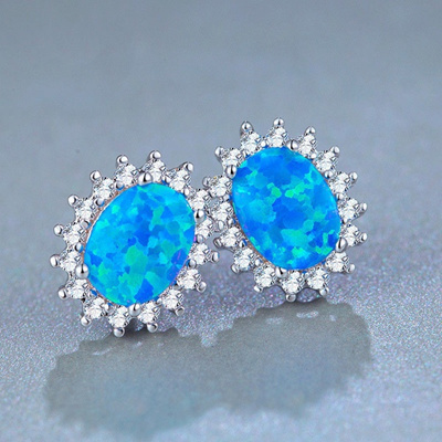 Fashion Women 925 Sterling Silver Natural Gemstone Blue Fire Opal Stud Earrings Wedding Engagement G