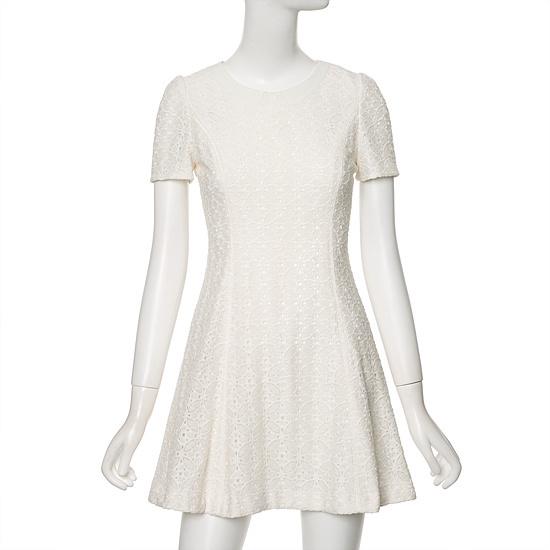 ラインパンチングレース、半そでの小売フレアワンピースNWOPFD24 面ワンピース/ 韓国ファッション