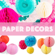 ✺ Paper Decors / POM POM/  Party Fans/ Honeycomb Balls/  Clover Garlands/ Tassels ✺