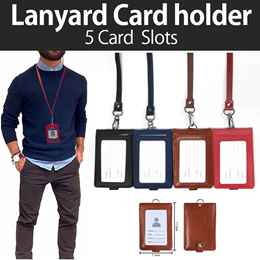 [HELLOIMD]♥ DOUBLE LEATHER LANYARD HOLDER♥ 5 Cards Slots Compact More Storage BEST GIFT IDEA!