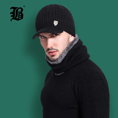 1f3cd15780f6aa [FLB] Skullies Beanies Men Scarf Knitted Hat Cap Male Plus Gorras Bonnet Warm  Wool