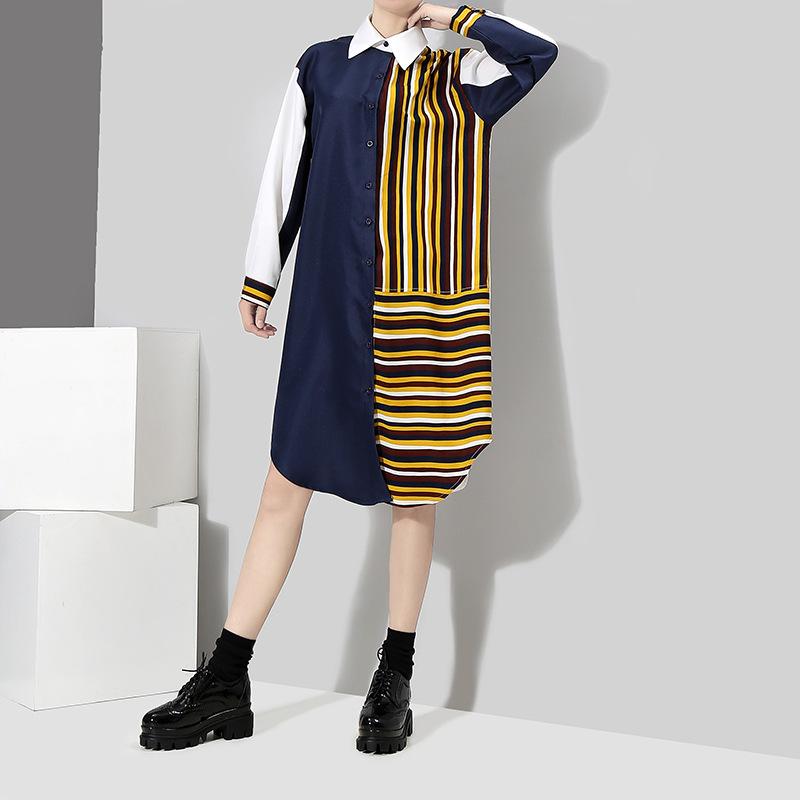 2018新品 初春 韓国ファッション レディース シャツワンピ  ワンピース ストライプ  可愛い上質  X-AT118520
