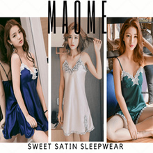 [Maome] Korea High Quality Sweet Satin Lace Lingerie Sleepwear Slip Dress Korea Dress Silk