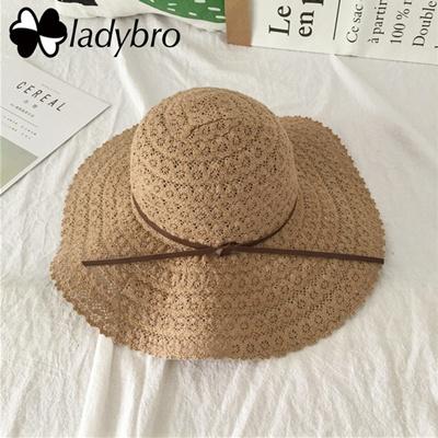 ce01ebc84048e Ladybro 2018 Fashion Women Wide Brim Straw Hat For Lady Sun Hat Lace Beach  Summer Hat