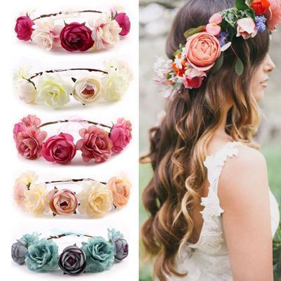 Accessories Obliging Womens Kids Girls Boho Flower Floral Hairband Headband Crown Party Wedding Beach 6 Colour Girls' Baby Clothing