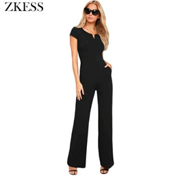 93ea0dbbe3c5 ZKESS Women Black Daily Fashion Wide Leg Skinny Jumpsuits Casual High  Waisted O Neck Playsuits Rompe