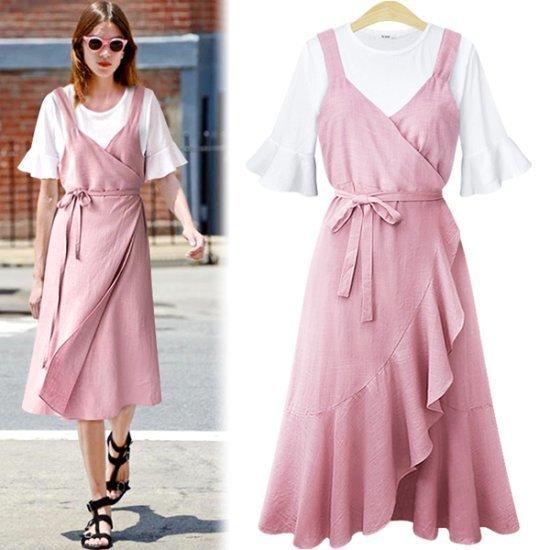 アデンOP1828ポリタリンネンラップワンピース 綿ワンピース/ 韓国ファッション